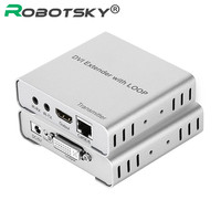 Robotsky 1080p 3D EDID With IR For HDTV DVD Single Cat5E/6 DVI TX+RX Support 50Meters DVI Singer Cable Extender with Loop