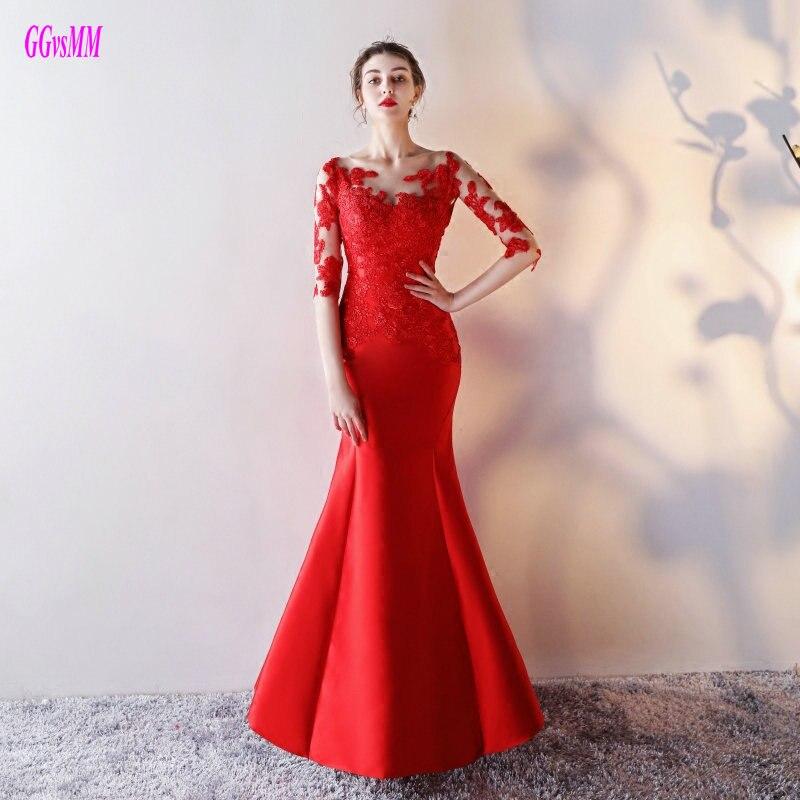 Red Lace Formal Evening Dress 2019 abiye O Neck robe de bal Applique Floor Length Mermaid