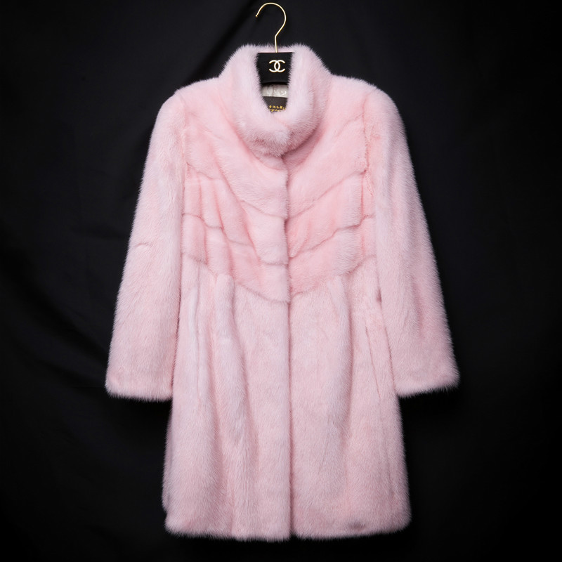 2017 New Mink Wool Mink Fur Coat Lady In The Long Winter Pink Clothes. Real Mink Fur Fur Coat Free Shipping