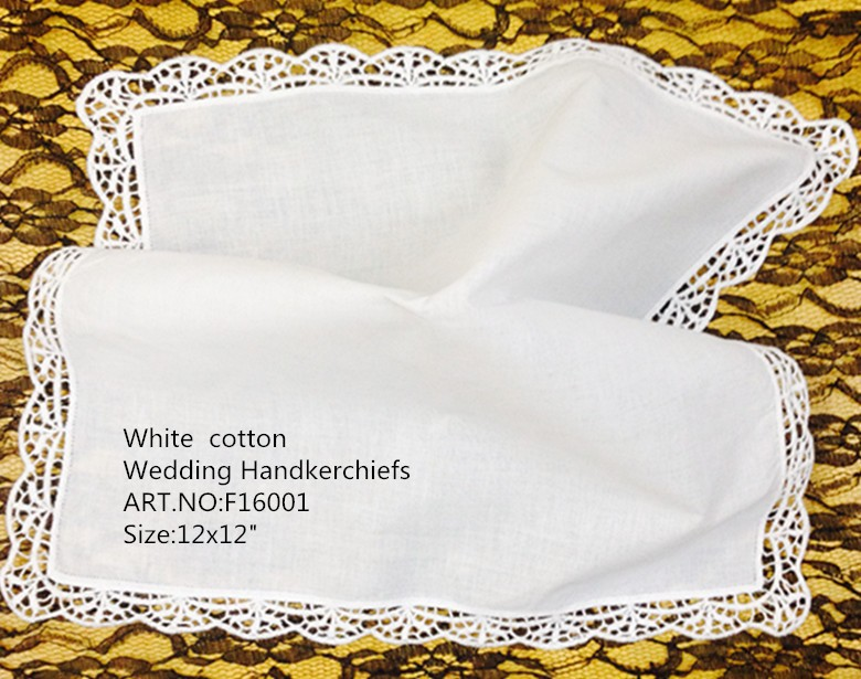 Set Of 12 Fashion Ladies Handkerchiefs 12-inch White Cotton Handkerchief Sweet Heart Hankies Vintage Lace Hanky For Bridal Gifts