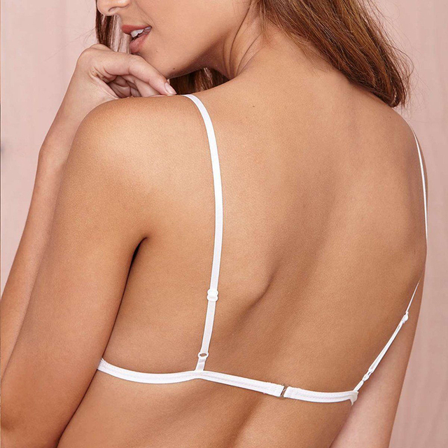 138c168f66bae White Women Sexy Lingerie Floral Sheer Lace Triangle Bralette Crop Top  Unpadded Bra Hot Size M