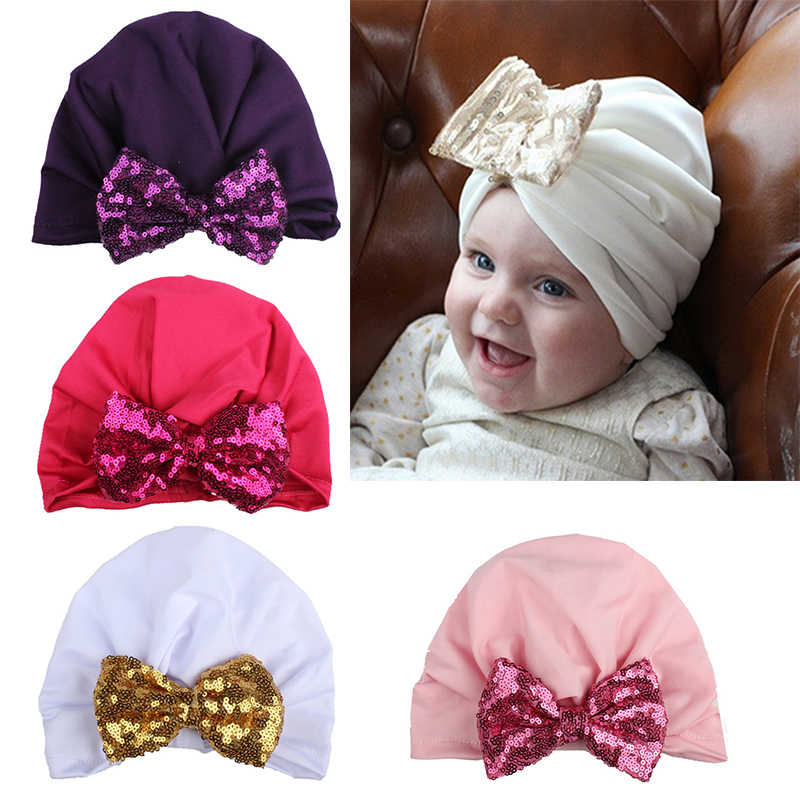 9f2536bccd9 Bohemian Bow Baby Hat Cotton Elastic Spring Autumn Children Indian Style  Hat Newborns Photography Props Accessories