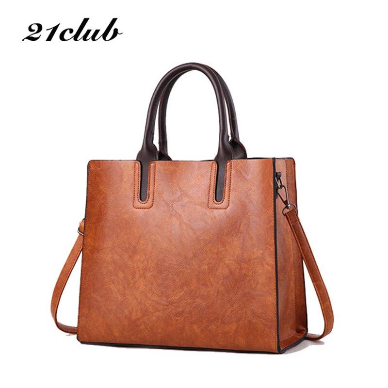 21club brand 2019 new ladies medium large capacity  totes vintage solid flap shopping work women crossbody shoulder bags handbag tote bags for work