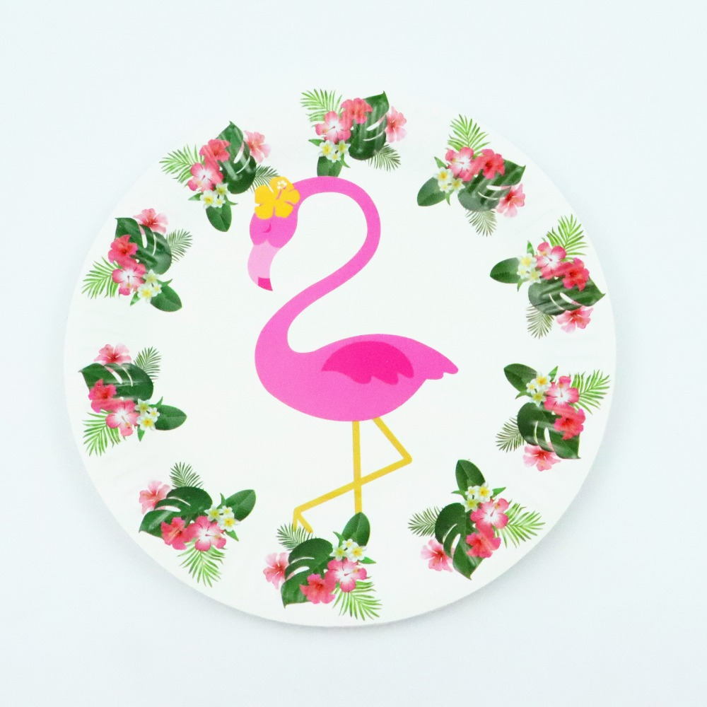 10pcs 7inch Flamingo  Plates Cartoon Disposable Paper Plates Kid baby shower  Birthday Party supplier