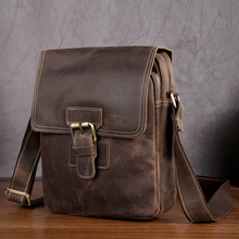 NEWEEKEND 3553 Vintage Genuine Leather Crazy Horse Soft Zipper Crossbody Shoulder Messenger iPad Bag for Man