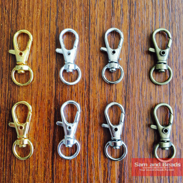 20Pcs Gold Silver Bronze Swivel Lobster Clasp Clips Key Hook Keychain Split Key Ring Findings Clasps For Keychains Making 32mm