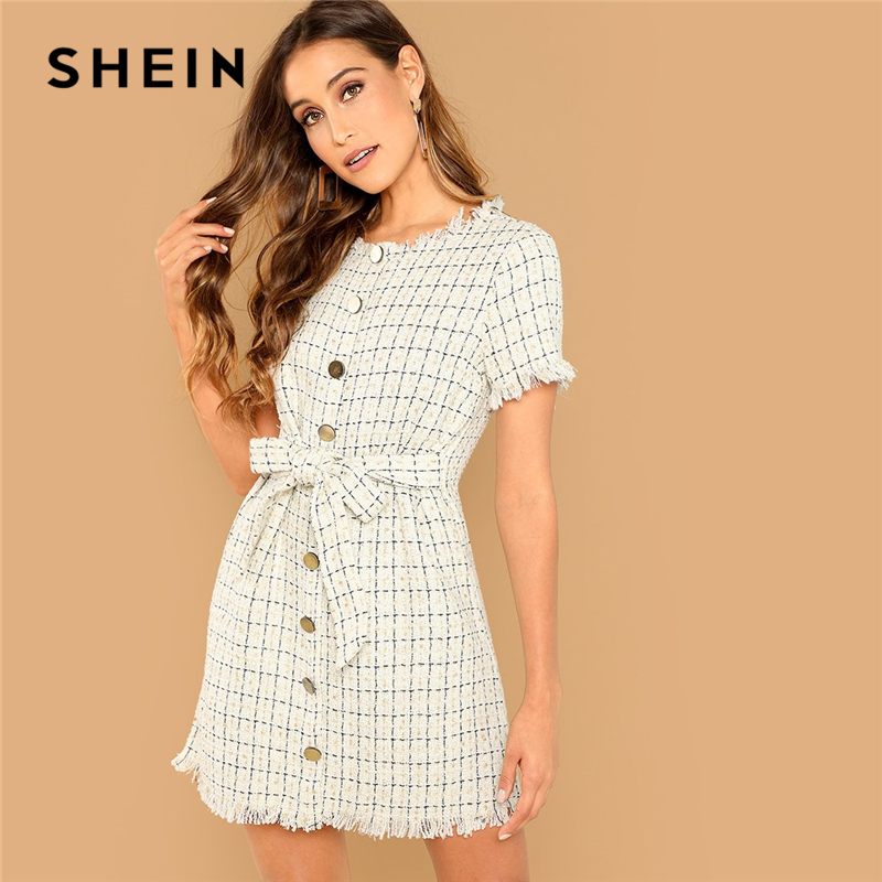 ab4beb8b81 SHEIN Apricot Elegant Office Lady Frayed Edge Plaid Button Front Knot Tweed  Dress 2018 Summer Fashion