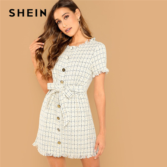 3f9488058f SHEIN Apricot Elegant Office Lady Frayed Edge Plaid Button Front Knot Tweed  Dress 2018 Summer Fashion