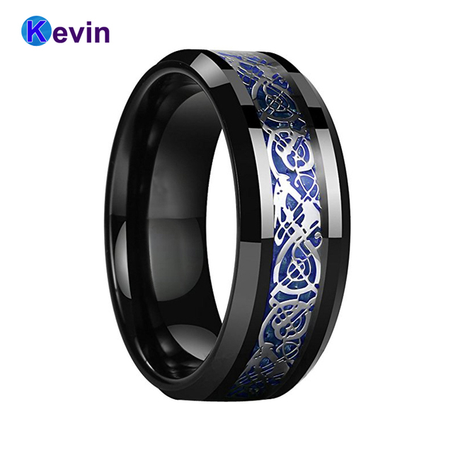 Us 1499 Black Wedding Rings For Women Men Black Tungsten Ring With Blue Carbon Fiber And Silver Dragon Inlay In Wedding Bands From Jewelry