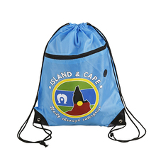 Hot sell polyester drawstring backpack bags with front zipper pocket and headphone hole