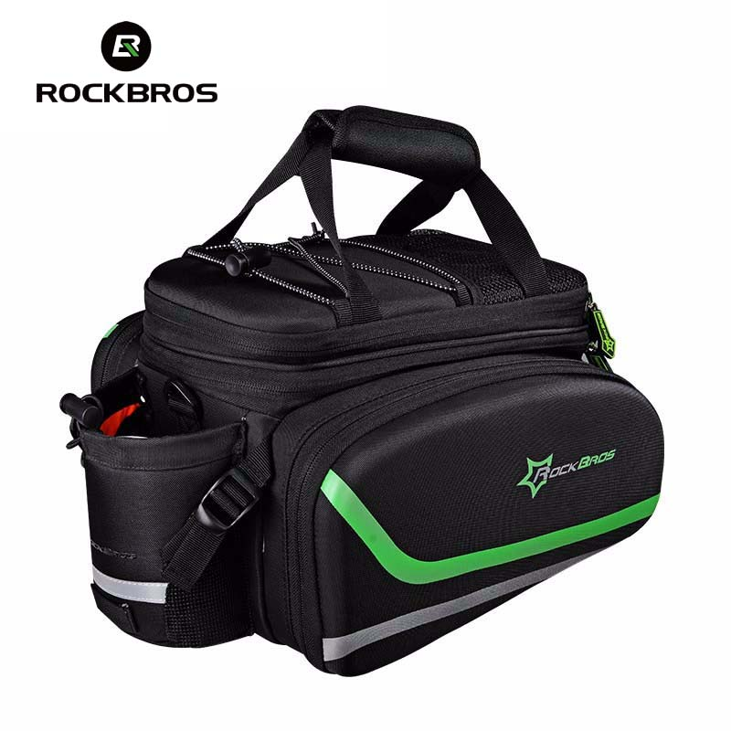 ROCKBROS Bike Bag Rainproof MTB Road Bicycle Bag With Rain Cover Cycling Pannier Rack Bag Bike Rear Trunk Bag Accessories roswheel 50l bicycle waterproof bag retro canvas bike carrier bag cycling double side rear rack tail seat trunk pannier two bags