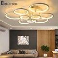 Современная светодиодная люстра голубого времени  освещение для кабинета  столовой  спальни  гостиной  круглые акриловые светодиодные люст...