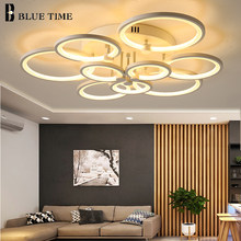 Blue Time Modern LED Chandelier Lighting For Study Room Dining Room Bedroom Living Room Circle Acrylic LED Chandeliers Fixtures(China)