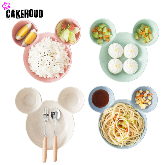 CAKEHOUD Wheat Straw +PP Creative Cute Boxes Small Plates Household Kitchen  Set Spices Dish Vinegar