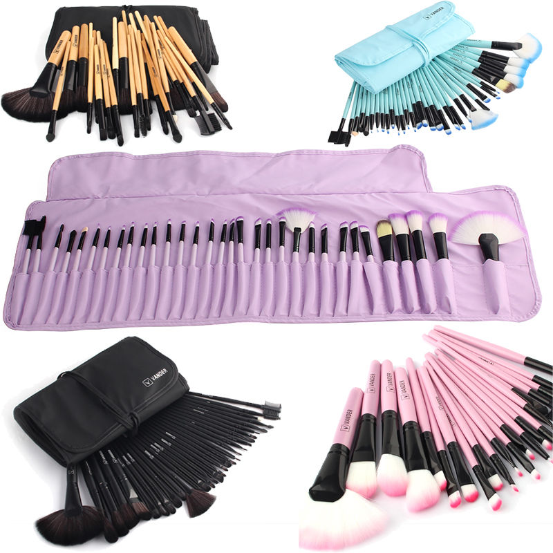 Vander pincéis de maquiagem macios conjunto 32 pces multi-color maquillage beleza escovas melhor presente kabuki pinceaux escova conjunto kit + bolsa