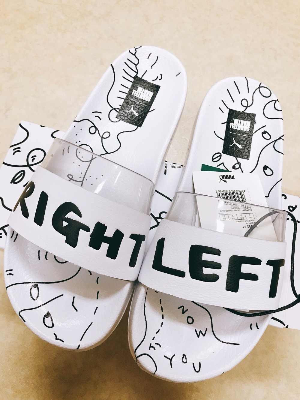 d18f75b3fb2e PUMA X SHANTELL MARTIN Clyde Puma black and white joint graffiti  transparent slippers Badminton shoes size