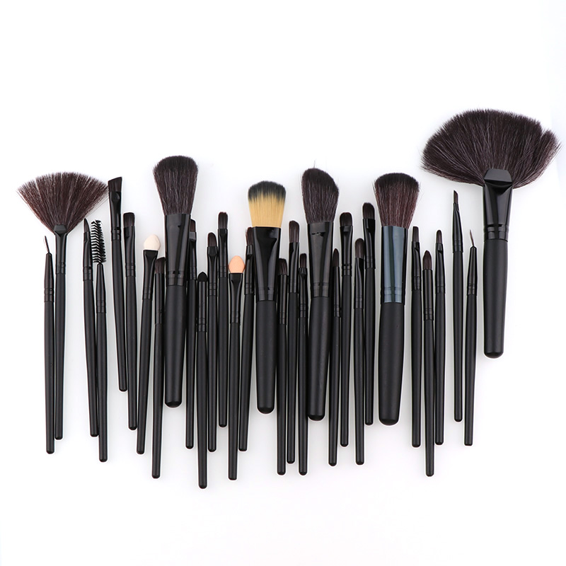 32 Pcs High Quality Mini Black Professional Cosmetic Makeup Brush Set Upscale Wool Fiber+Horse Hair Brush For Makeup Tools 50 hanks high quality mongolia stallion white violin bow hair 6 grams hank white horse tails 32 inches