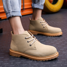 New Arrival Mens Leather Boots Autumn Spring Leather Man Shoes Lace Up Men Moto Boots High Top Fashion Work Boots цена