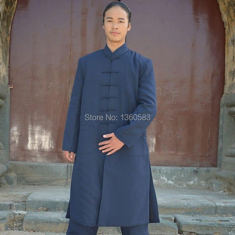 2 цвета толщиной хлопок-ватник тай-чи спортивный костюм шаолинь монах Wudang даосский халат ушу боевые искусства одежда даосский священник