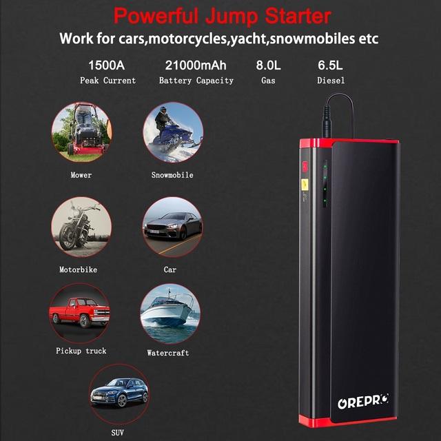 Car Jump Starter 1500A 12V Vehicle Emergency Battery Portable 21000mAh External Car Battery Booster Multi-function Power Bank