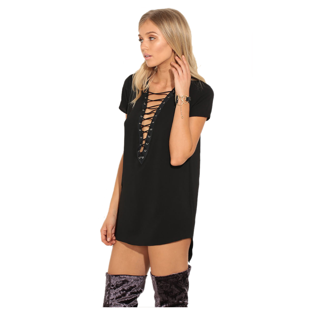 TFGS Women's Fashion <font><b>Summer</b></font> <font><b>T</b></font> <font><b>Shirt</b></font> Dress Deep <font><b>V</b></font> <font><b>Neck</b></font> Lace Up <font><b>Sexy</b></font> Bodycon <font><b>Bandage</b></font> Party Mini Dresses Casual Clubwear Dress image