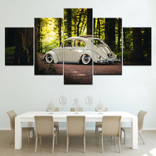 Volkswagen Beetle Car Canvas Painting Wall Art Modular Living Room Home Decor Poster 5 Pieces HD Prints Forest landscape Picture