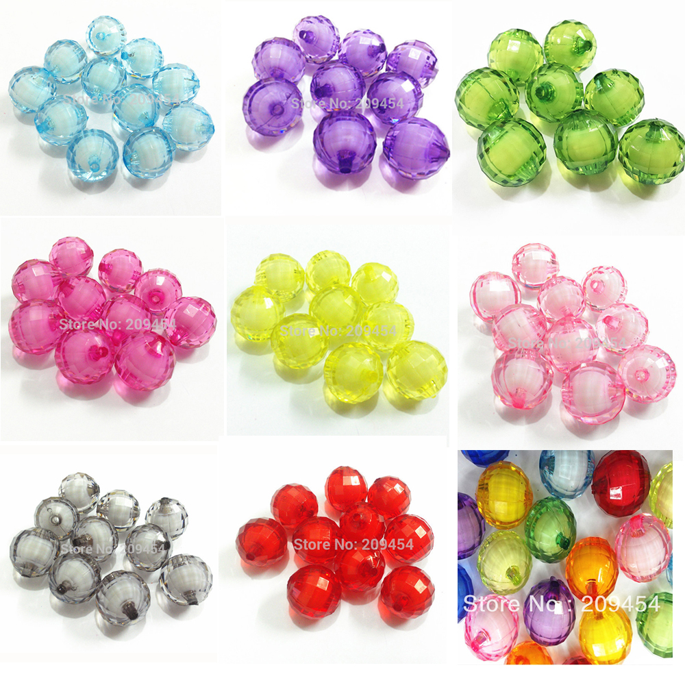 12mm /16mm/20mm Chunky Transparent Earth Faceted Round Beads In Beads