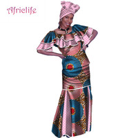 african dresses for women dashiki african clothing top and skirt 2 pieces suit women Stitching top fishtail skirt dress WY040