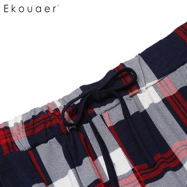 Ekouaer Men Pajamas Set 100% Cotton Soft Sleepwear Short Sleeve Top Plaid Long Pants Pyjamas Set Loungewear Male Home Clothes