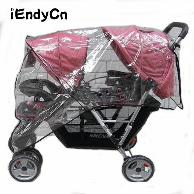 Twin Babies Cart stroller umbrella Water proof Before And After Rain Wind Pushed A Chair Dust Cover Baby Cart YUJU27LL