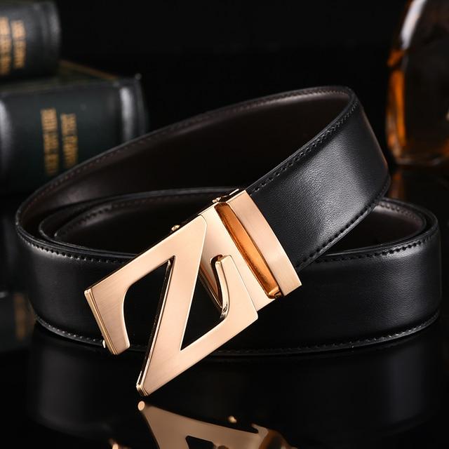 bbfefec8231 De luxe d or boucle de ceinture hommes en cuir véritable ceintures z mot  boucle