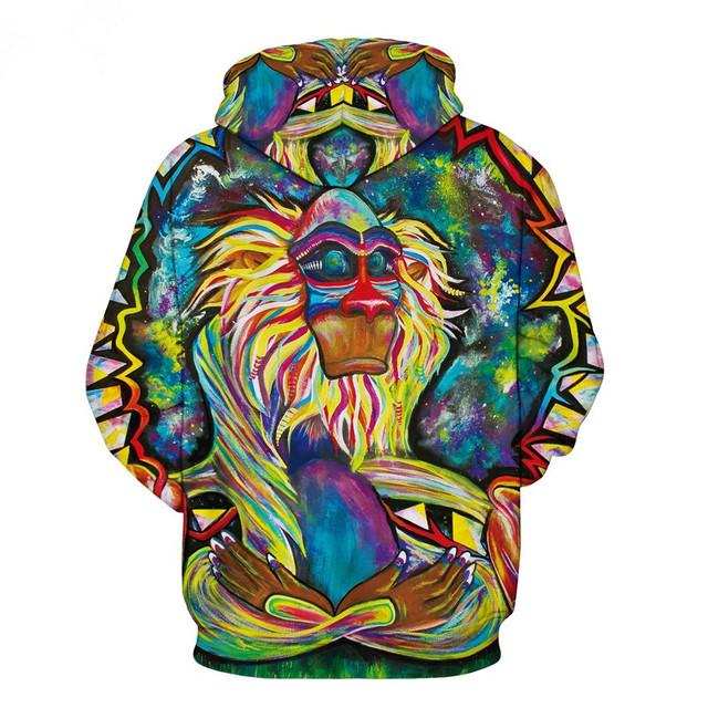 Graffiti Rasta Monkey Elder Meditation Rafiki Hoodie Men women 3d Sweatshirts Wizard Clown Oil Orangutan Printing Hooded hoodies