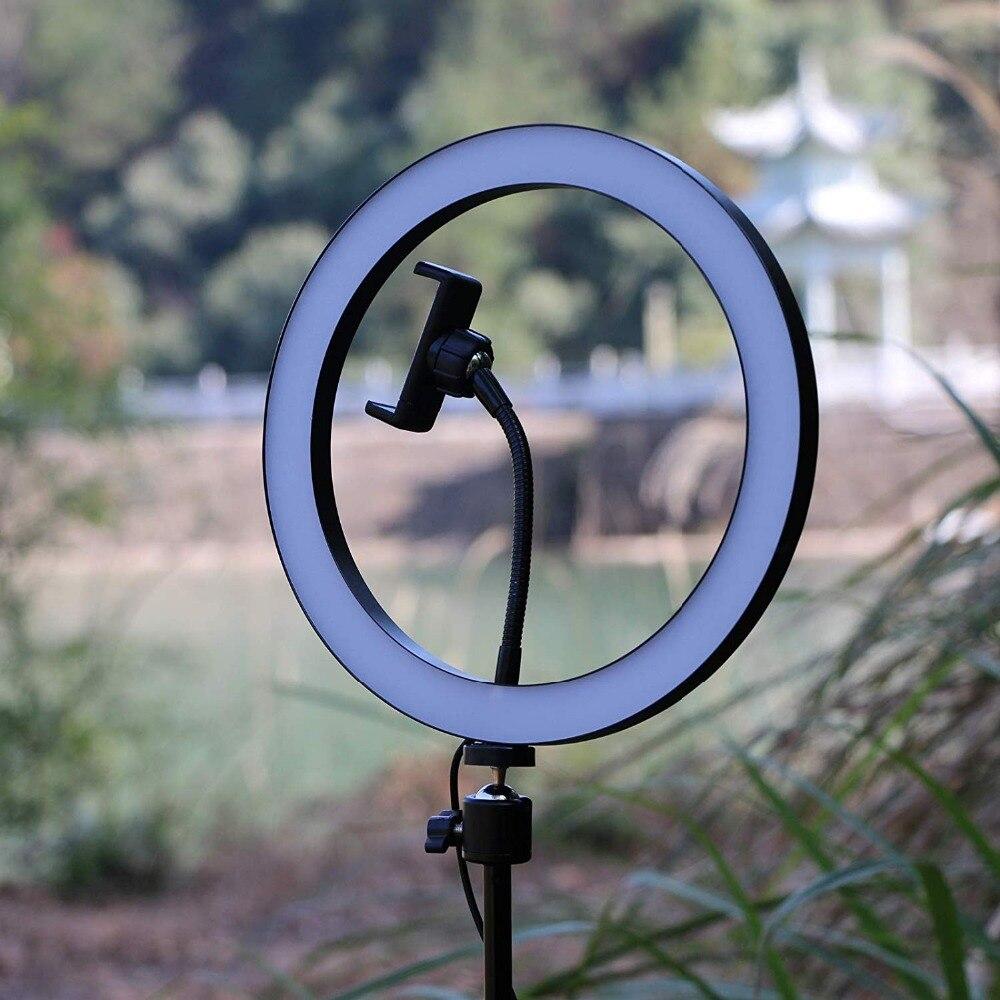 10 Selfie LED anneau lumière lampe de bureau Mini caméra LED lumière avec trépied support et cellule support pour téléphone pour smartphones en direct maquillage - 3