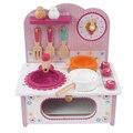 Детские игрушки ребенок приготовления пищи набор деревянная кухня игрушки для детей деревянные пищевой играть кухонный гарнитур розовый плита подарок