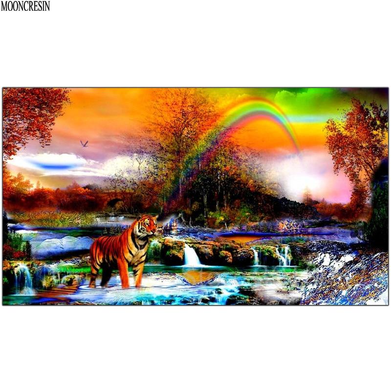 Diy Diamond Painting Cross Stitch Tiger & Rainbow In The