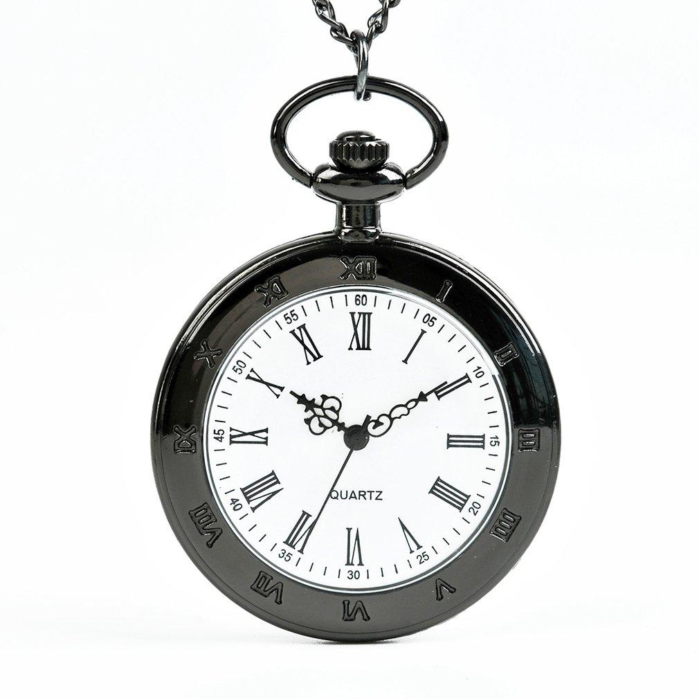 Black Single Shell Rome Retro Pocket Watch Classic Design Men'S Women'S Fashion Quartz Pocket Watch Creative Gift