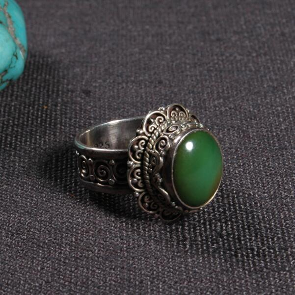 #6.5 Handcrafted Nepalese 925 Silver Ring Tibetan 925 Sterling Silver Ring Silver Green Bohemia Ring Resizable#6.5 Handcrafted Nepalese 925 Silver Ring Tibetan 925 Sterling Silver Ring Silver Green Bohemia Ring Resizable