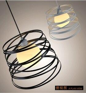 Image 3 - Простой железный спиральный подвесной светильник, абажур 32 см, черный/белый, для кухни, островного, столовой, ресторана, украшения