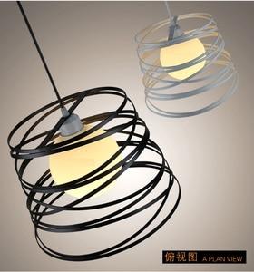 Image 3 - Lampe suspendue en spirale en fer Simple, disponible en noir/blanc, luminaire décoratif dintérieur, idéal pour une cuisine, une salle à manger, un Restaurant, 32cm