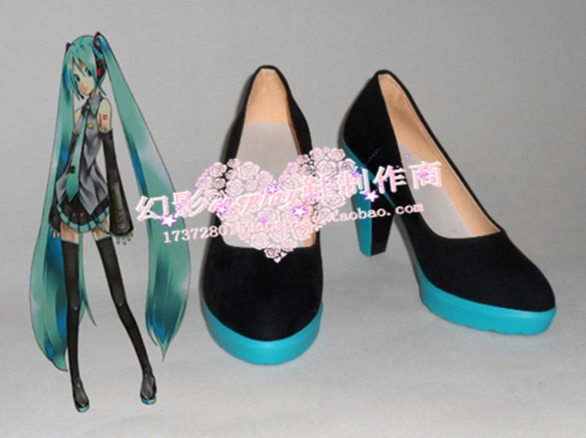 Vocaloid Hatsune Miku vêtement quotidien Halloween noir Cosplay chaussures H016