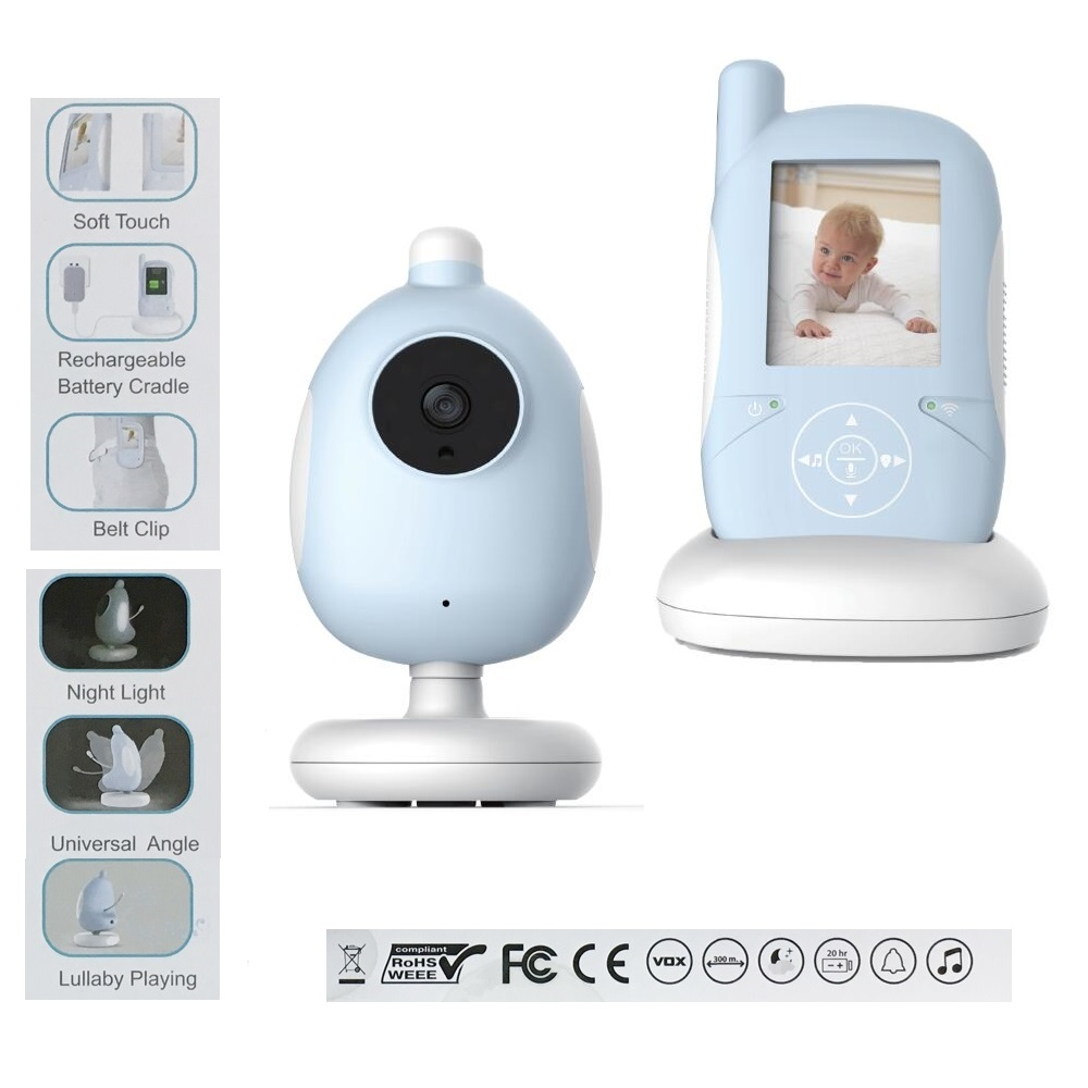 2 4 inch wireless baby monitor IR Nightvision Intercom Lullabies Temperature Monitor VOX system Feeding Alarm