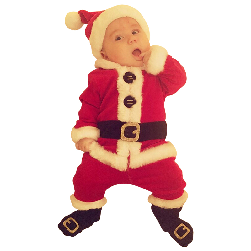 Christmas Children Clothing Set Cute Baby Boys Santa Claus Suit For 2017 Christmas Warm Kids