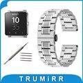 24mm 5 de acero inoxidable puntero correa para sony smartwatch 2 sw2 mariposa hebilla banda de reemplazo correa brazalete de eslabones de plata