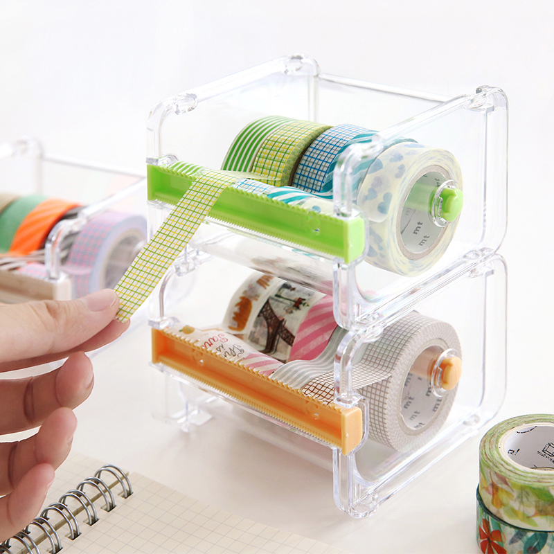 Mini Paper Washi Tape Dispenser Holder Two Sawtooth Tapes Cutter Office Organizer Desk Accessories School Supplies A6071