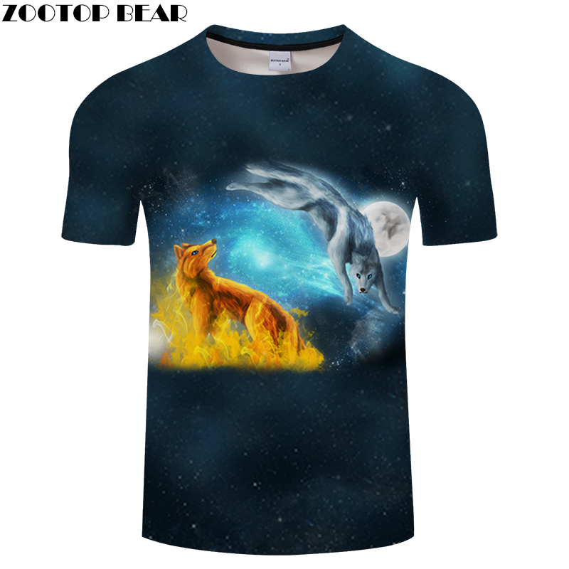 Animal tshirt Golden Wolf t shirt 3D Men t-shirt Streatwear Tee Galaxy Top Casual Camiseta Short Sleeve Moon DropShipZOOTOPBEAR