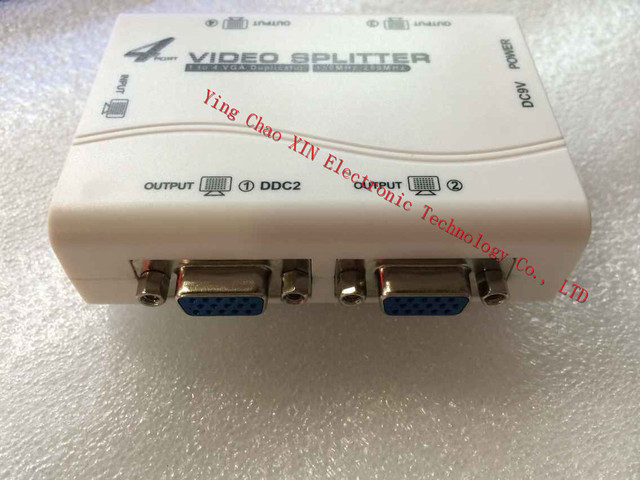 Shipping1 gratis a 4 puertos VGA video splitter 1-in-4-out duplicadora 250 MHz dispositivo cascadedable Botas de Señales de Vídeo de 65 m 1920*1440
