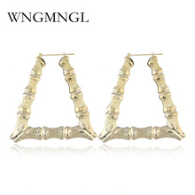 WNGMNGL New Fashion Punk Gold Silver Color Big Hoop Earrings Large Bamboo Alloy Geometric Party Street Jewelry