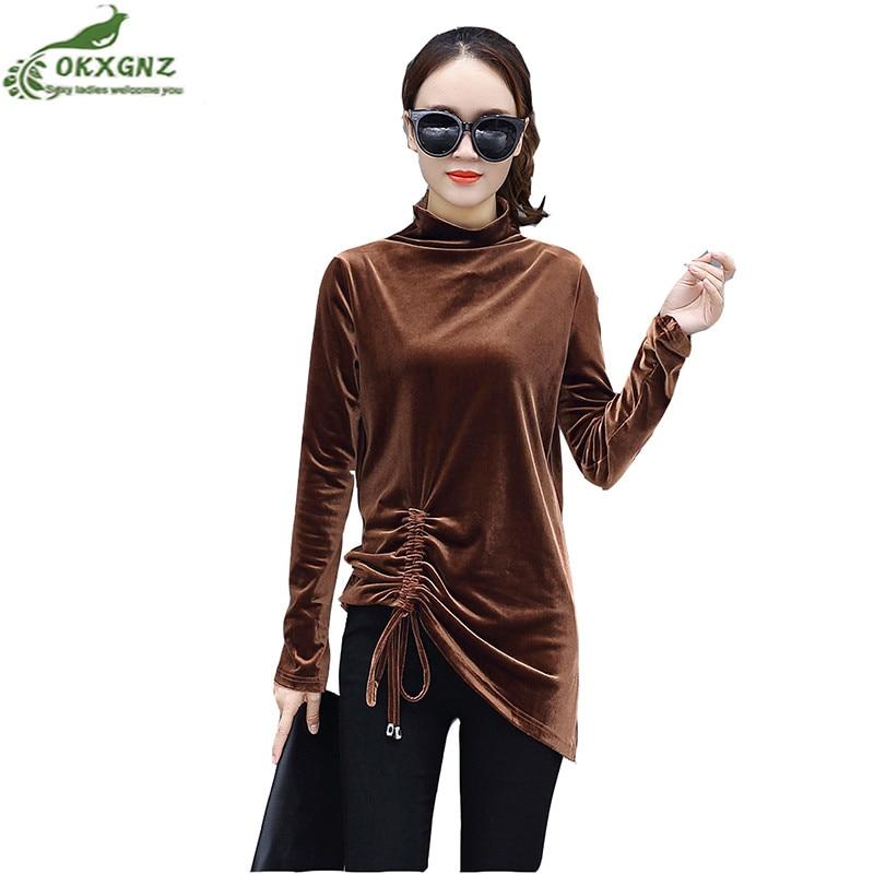162c7fb49c1 Осенне-зимняя теплая футболка Женская средней длины большой размер нижняя  рубашка tide женская с высоким