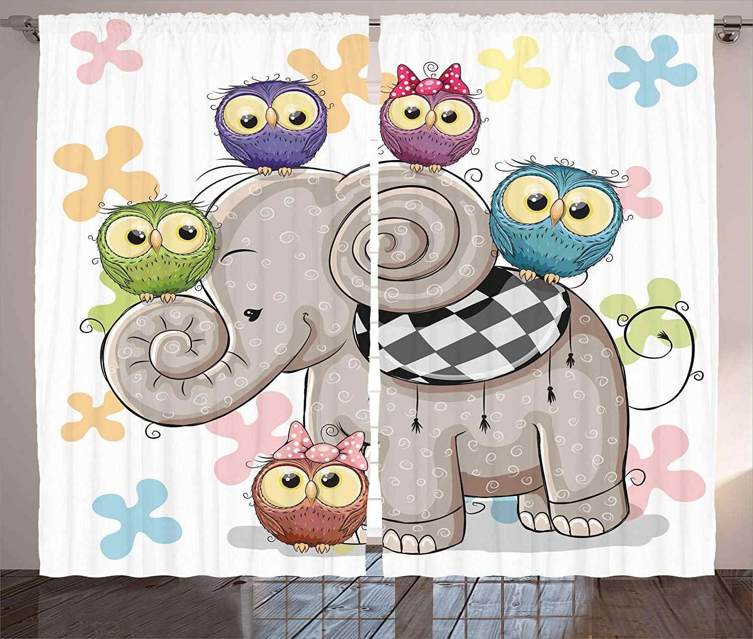 Owl Curtains Home Decor Cute Cartoon Elephant and Owls on a Floral Background Animal Love Big Eyes Boys Girls Decor Living