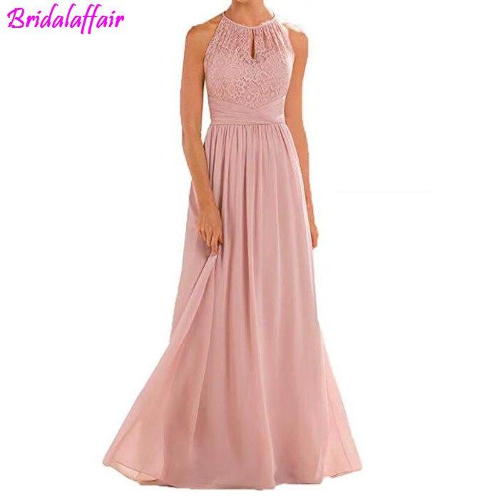 High Neckline Halter Lace Bridesmaid   Dresses   A-line Chiffon Floor-Length Wedding Party   Prom     Dresses   2018 uzun abiye elbise
